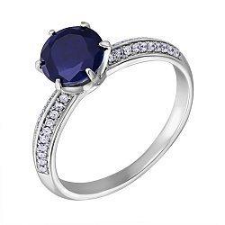 Серебряное кольцо с сапфиром и фианитами 000125109