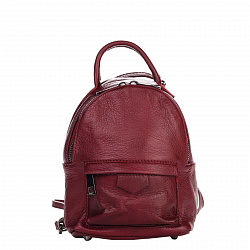 Кожаный рюкзак Genuine Leather 8002 бордового цвета с накладным карманом на молнии