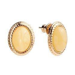 Позолоченные серебряные серьги с лимонным янтарем 000118945
