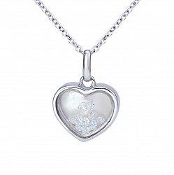 Серебряное колье Сердце малое с плавающими белыми фианитами, 10x10мм