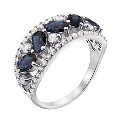 Серебряное кольцо с сапфирами и фианитами 000010789