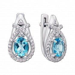 Серебряные серьги с голубым кварцем и фианитами 000136059