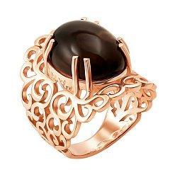 Узорное кольцо из красного золота с раухтопазом 000131314