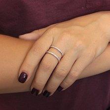 Серебряное позолоченное кольцо Дабл с дорожками фианитов