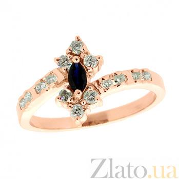 Золотое кольцо в красном цвете с сапфиром и бриллиантами Карол ZMX--RS-1024_K