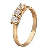 Золотое кольцо Милана в красном цвете с фианитами