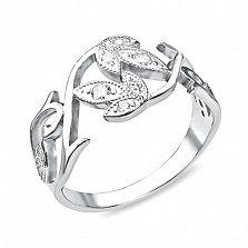 Серебряное кольцо Лесная фея с белыми фианитами