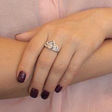 Серебряное кольцо Размах с ювелирным стеклом и фианитами