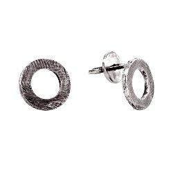 Cеребряные серьги-пуссеты Circum с чернением 000091383
