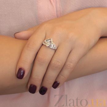 Серебряное кольцо Размах с ювелирным стеклом и фианитами 000079890