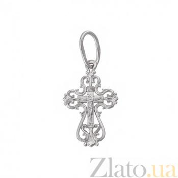 Серебряный ажурный крестик Исцеление Господне HUF--3495-Р