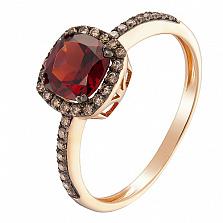 Кольцо в красном золоте Киприда с гранатом и бриллиантами