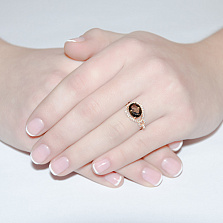 Кольцо в красном золоте Диана с раухтопазом и фианитами