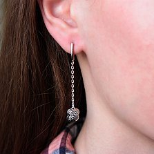 Серебряные серьги Вербена с цирконием