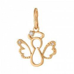 Золотой кулон Ангелочек с фактурной поверхностью и фианитом 000071565
