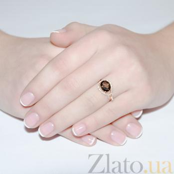 Кольцо в красном золоте Диана с раухтопазом и фианитами SVA--1190470101/Раухтопаз/Дым.кварц
