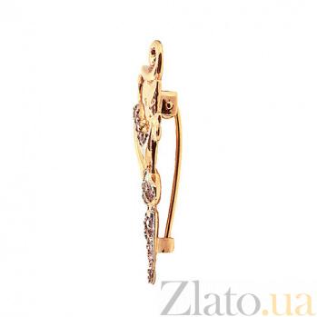 Золотая брошь с бриллиантами Кошка с зонтом ZMX--BDb-6835_K