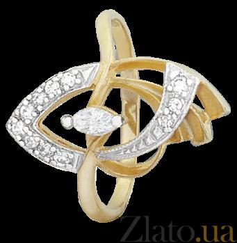 Серебряное кольцо с позолотой и фианитами Дайона 000025608