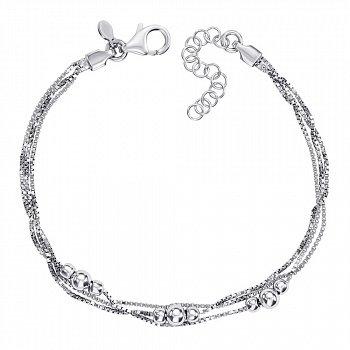 Серебряный многослойный браслет с подвесками-шариками 000137661