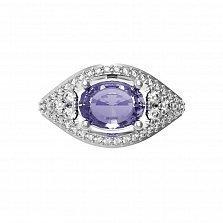 Серебряное кольцо Лавина с аметистом и белыми фианитами