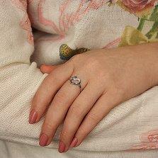 Серебряное кольцо Любящее сердце с белыми фианитами