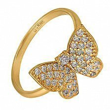 Кольцо в желтом золоте Парящая бабочка с фианитами