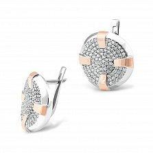 Серебряные серьги Пьетра с золотыми накладками, фианитами и родием