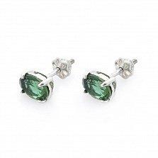 Серебряные серьги-пуссеты Джастина с зеленым кварцем