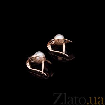 Золотые серьги с жемчугом и фианитами Каррин ONX--с01528