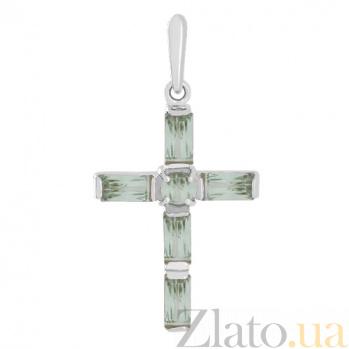 Крестик из белого золота с зелеными аметистами Эстетика ар-деко VLN--114-004-5*