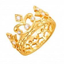 Золотое кольцо-корона Королевна в желтом цвете с фианитами
