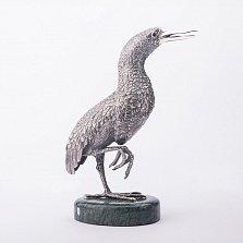 Серебряная статуэтка ручной работы Экзотическая птица на мраморной подставке
