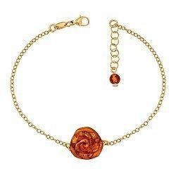 Серебряный позолоченный браслет с янтарем 000137494