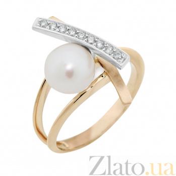 Золотое кольцо Монте Кристо в комбинированном цвете с белым жемчугом и бриллиантами VLA--14630