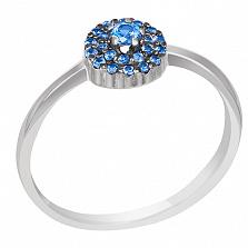 Кольцо в белом золоте Теплый океан с голубым топазом и сапфирами