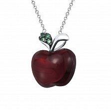Золотой кулон с агатом и изумрудами Райское яблоко