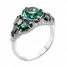 Серебряное кольцо Банжамин с зеленым кварцем и фианитами
