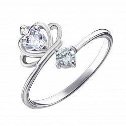 Серебряное кольцо с короной и фианитами 000129444