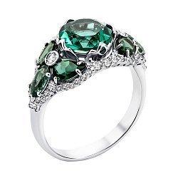 Серебряное кольцо с зеленым кварцем и фианитами 000129912