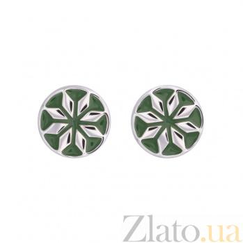 Золотые серьги с зеленой эмалью Лайма 2С766-0018