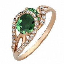Золотое кольцо Дианис с зеленым топазом и фианитами