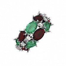 Серебряное кольцо Люсьен с гранатом, зеленым кварцем и фианитами