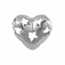 Серебряная объемная подвеска Звездное сердце