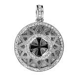 Серебрянное колье Звезда Эрцгамма на шнурке, ø 2,5см