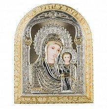Позолоченная икона на деревянной основе Богородица Казанская с эмалью,12х17