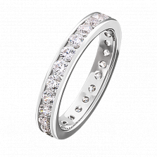 Золотое кольцо Las Vegas в белом цвете с дорожкой бриллиантов