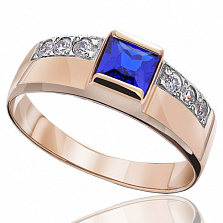 Золотое кольцо с синим цирконием Принцесса