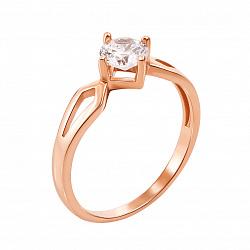 Кольцо из красного золота Изящный выбор с цирконием