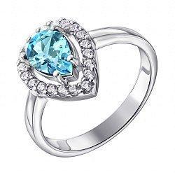 Серебряное кольцо с голубым топазом и фианитами 000117878