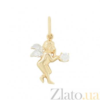 Золотой подвес с цирконием Ангелок 2П220-0191